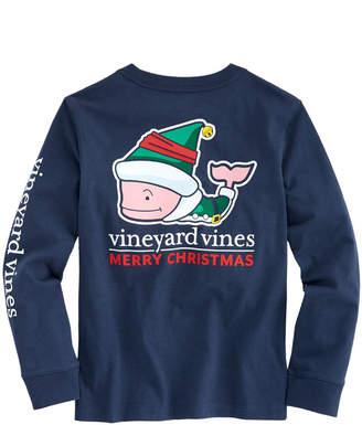 Vineyard Vines Kids Long-Sleeve Elf Whale Pocket T-Shirt