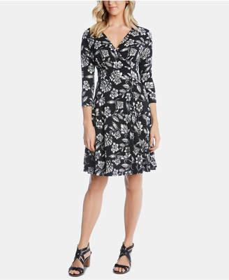 Karen Kane Floral-Print Faux-Wrap Dress