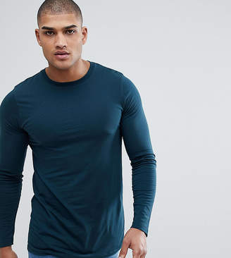 Asos Design DESIGN Tall longline long sleevet-shirt with crew neck in green