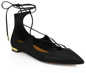 Aquazzura Christy Leather Lace-Up Flats $675 thestylecure.com