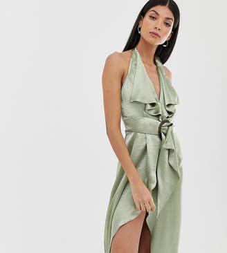 Asos Tall DESIGN Tall neck satin pencil midi dress with wooden buckle belt