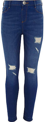 River Island Girls blue Molly ripped skinny jeggings