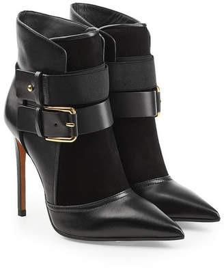 Balmain Leather Ankle Boots with Buckles and Suede