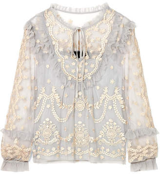 Needle & Thread Flapper Ruffled Embroidered Tulle Blouse - Light blue
