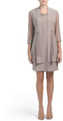 Three-quarter Sleeve Embellished Jacket Dress