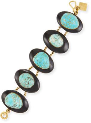 Ashley Pittman Dark Horn & Turquoise Bracelet