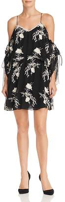 Alice + Olivia Holden Embroidered Cold-Shoulder Dress