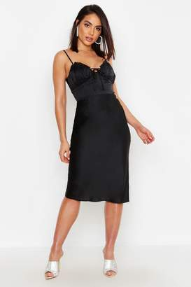 boohoo Satin Pleat Bustier Midi Slip Dress
