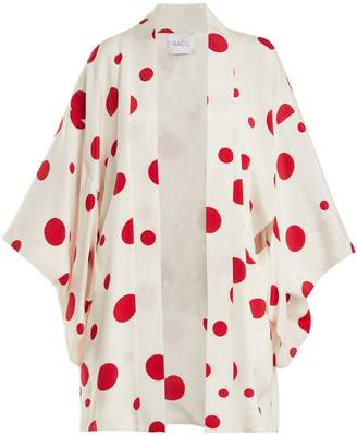 RACIL Sayuri dot-print silk kimono jacket