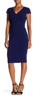 Donna Morgan Cap Sleeve Fitted Crepe Sheath Dress