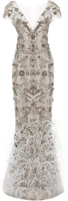 Marchesa Ostrich Feather Embroidered V-Neck Column Gown