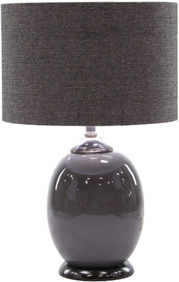 Uma Enterprises Matte Gunmetal Iron Table Lamp W/ Linen Shade