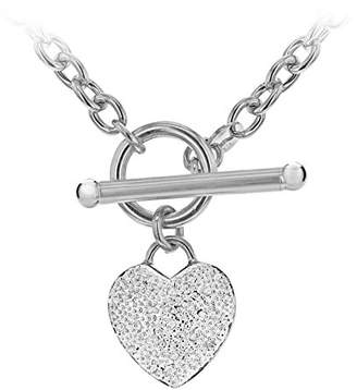 Carissima Gold 9 Ct White 0 10 Diamond Heart Oval Belcher T Bar Chain