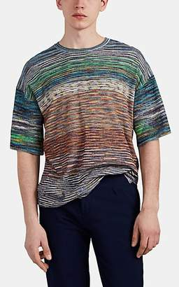 Missoni Men's Marled Waffle-Knit Cotton-Blend T-Shirt - Turquoise