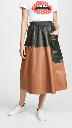 3a1ef29b31 Mira Mikati Perforated Leather Skirt