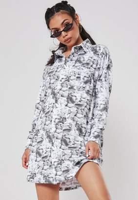 Missguided Gray Statue Print Jersey Shirt Dress