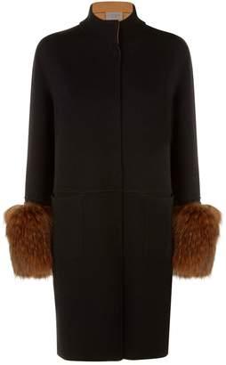 D-Exterior D.Exterior Racoon Fur Trim Coat