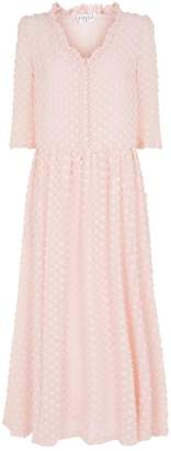 Claudie Pierlot Flower Applique Chiffon Maxi Dress