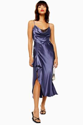 cb5fa440d2ad Topshop Womens Navy Lace Back Satin Slip Dress - Navy Blue