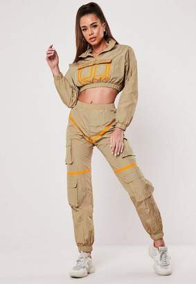 Missguided Sand Contrast Binding Co Ord Joggers, Camel