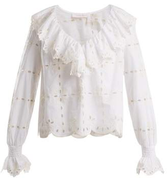 See by Chloe Geometric Floral Embroidered Cotton Top - Womens - White