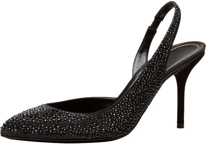 Gucci Crystal-Covered Pump, Black