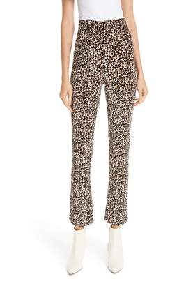 Rebecca Taylor Leopard Print Stretch Velvet Pants