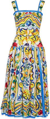 Dolce & Gabbana - Pleated Printed Cotton-poplin Midi Dress - Yellow $2,145 thestylecure.com