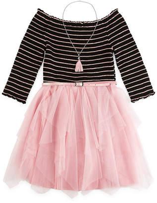 Knitworks Knit Works 3/4 Sleeve Tutu Dress - Big Kid Girls