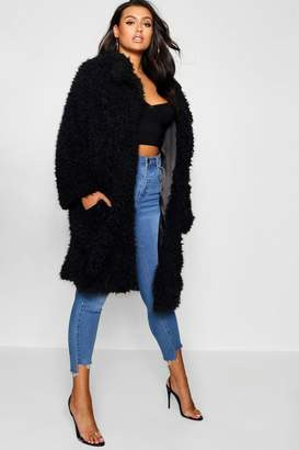 boohoo Plus Long Sleeve Faux Fur Coat