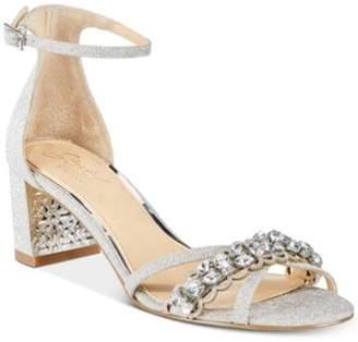 Badgley Mischka Giona Block-Heel Evening Sandals
