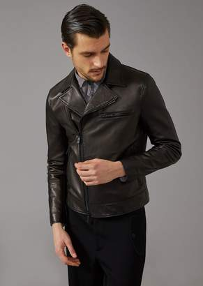 Giorgio Armani Biker Jacket In Plonge Leather