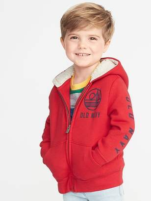 f6f1e3765 Old Navy Sherpa-Lined Logo-Graphic Zip Hoodie for Toddler Boys