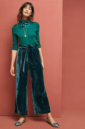 Trovata Birds of Paradis by Emma Velvet Wide-Leg Pants