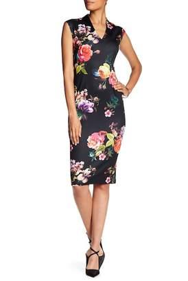 SL Fashions Floral Cap Sleeve Sheath Dress