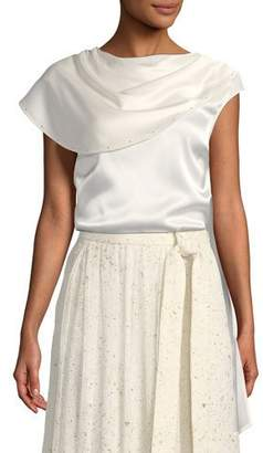 St. John Liquid Satin Top with Attached Wrap
