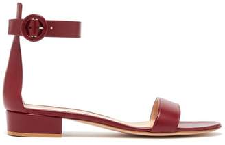 Gianvito Rossi Portofino 20 Block Heel Leather Sandals - Womens - Burgundy