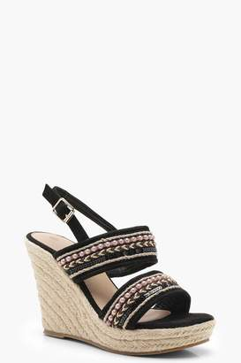 boohoo Beaded Strap Espadrille Wedges