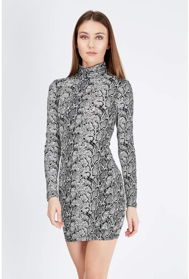Women's Snake Print Long Sleeve Bodycon Dress