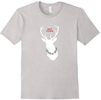 Happy Holidays Deer with distressed graphic t-shirt
