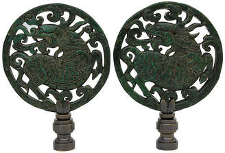 One Kings Lane Vintage Foo Dog Lamp Finials - Set of 2