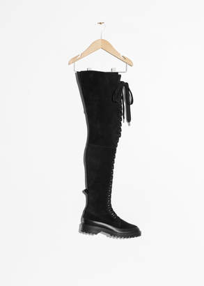And other stories Suede Lace-Up Over Knee Boot
