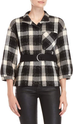 Derek Lam 10 Crosby Plaid Belted Drop Shoulder Jacket