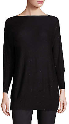 Lela Rose Women's Sequin-Embellished Boatneck Sweater