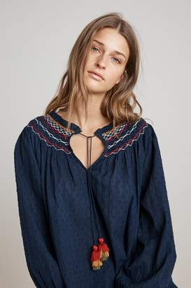 Velvet by Graham & Spencer TRUDIE SMOCKED EMBROIDERED PEASANT TOP