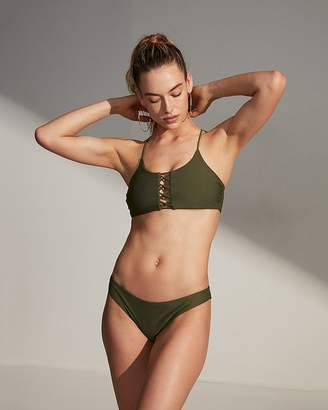 Express Long Line Lattice Bikini Swim Top
