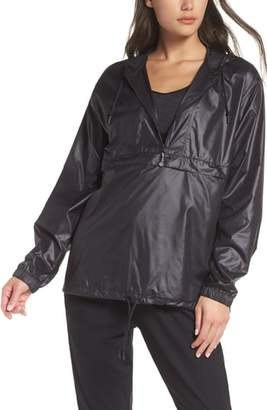 Zella Jacky Packable Half Zip Hooded Rain Jacket