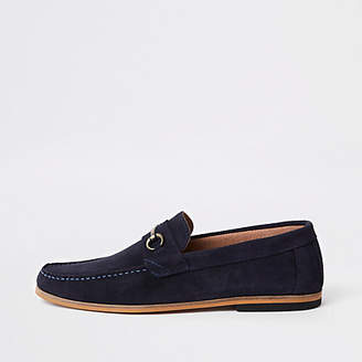River Island Mens Navy suede snaffle loafers