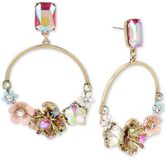 Betsey Johnson Gold-Tone Multi-Stone & Flower Drop Hoop Earrings