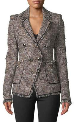 Veronica Beard Theron Double-Breasted Tweed Jacket w/ Frayed Trim